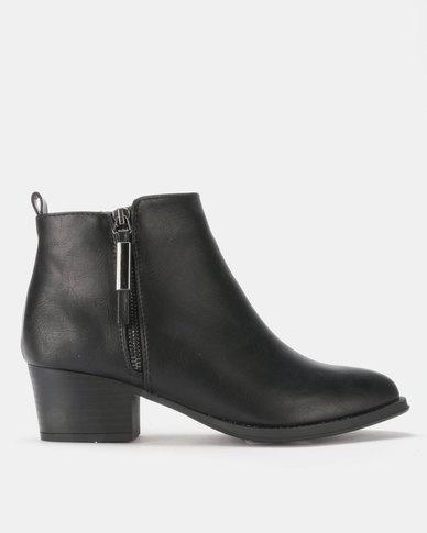 Queenspark Decorative Zip on Ankle Boots Black