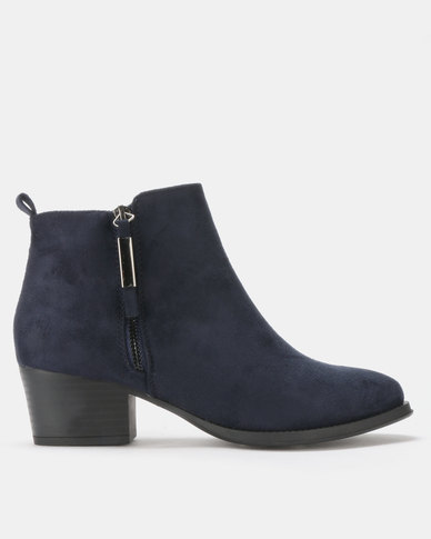 Queenspark Decorative Zip on Ankle Boots Navy