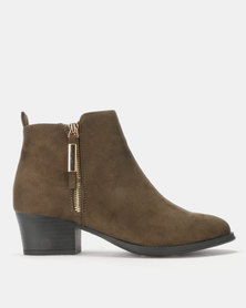 Queenspark Decorative Zip on Ankle Boots Khaki