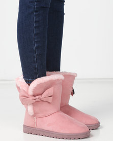 Utopia Bow Comfy Boots Pink