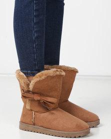 Utopia Bow Comfy Boots Tan