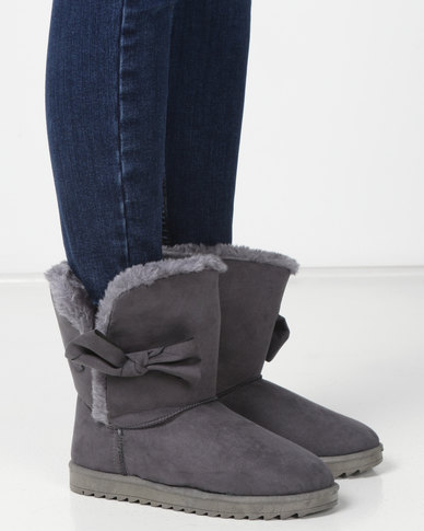 Utopia Bow Comfy Boots Grey
