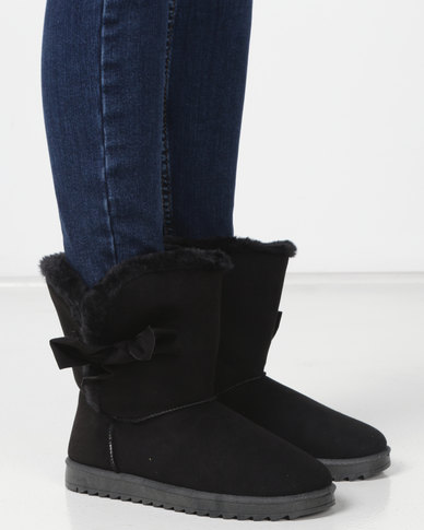 Utopia Bow Comfy Boots Black