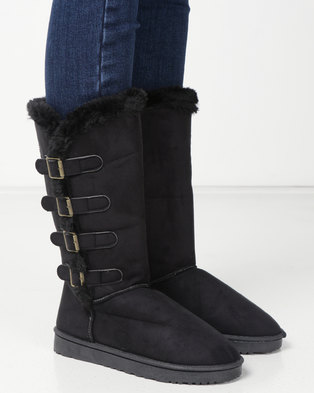 Utopia Side Buckle Comfy Boots Black