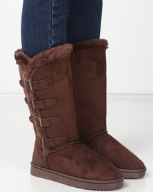 Utopia Side Buckle Comfy Boots Brown