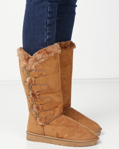 Utopia Side Buckle Comfy Boots Tan