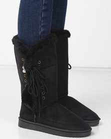 Utopia Side Lace Comfy Boots Black