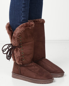 Utopia Side Lace Comfy Boots Brown