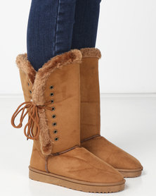 Utopia Side Lace Comfy Boots Tan