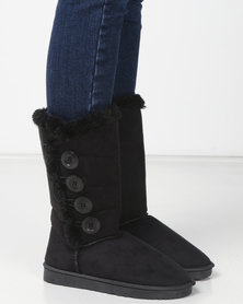 Utopia Side Buttons Comfy Boots Black