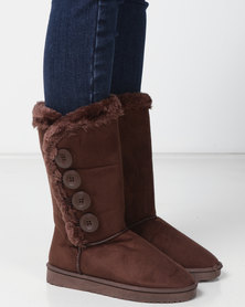 Utopia Side Buttons Comfy BootS Brown