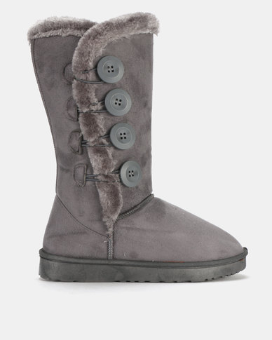 Utopia Side Buttons Comfy Boot Grey