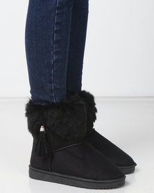 Utopia Faux Fur Comfy Boots Black