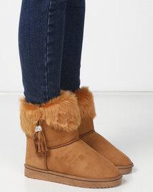 Utopia Faux Fur Comfy Boots Tan