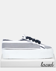02a250c6b Superga Shirt Fabric Full Flatform White/Stripe/Navy