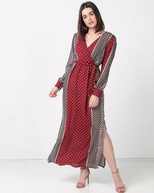 Utopia Minimal Print Maxi Dress Burgundy