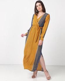 Utopia Minimal Print Maxi Dress Mustard