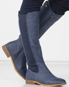 Miss Black ROUTE 66 Long Boot Navy