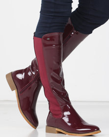 Miss Black ROUTE 66 Long Boot Patent Burgundy
