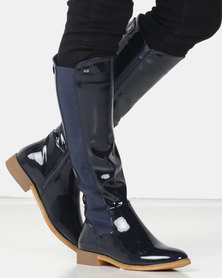 Miss Black ROUTE 66 Long Boot Patent Navy