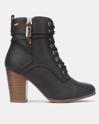 Miss Black AHLAM Ankle Block Heel Boot Black