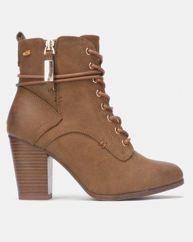 Miss Black AHLAM Ankle Block Heel Boot Tan