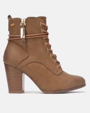 66a0bfb9e436 Miss Black AHLAM Ankle Block Heel Boot Tan