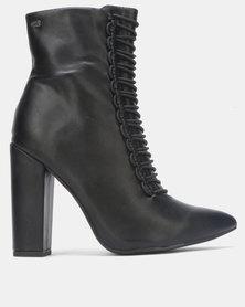 Miss Black CHERRY Ankle Block Heel Boot Black