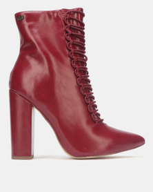 Miss Black CHERRY Ankle Block Heel Boot Burgundy