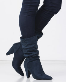 Miss Black RATU Ankle triangle heel Boot Navy