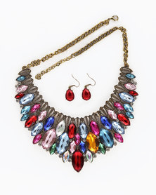 The Jewellery Box Crystal Antique Necklace & Earring - Multicolor
