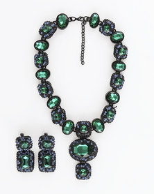 The Jewellery Box Heavy Crystal long Necklace & Earring - Green