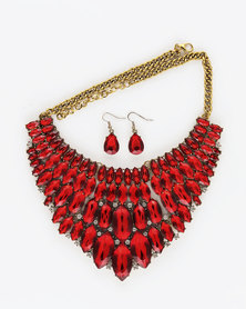 The Jewellery Box Crystal Antique Necklace & Earring - Red