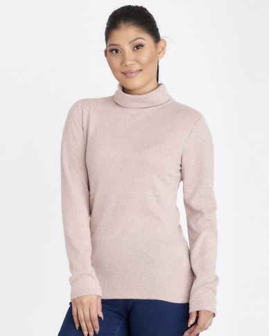 Contempo Poloneck Melange Knit Top Pink