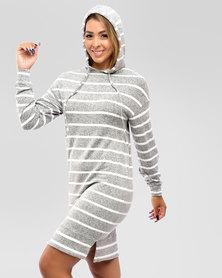Contempo Stripe Longer Length Hoodie Grey