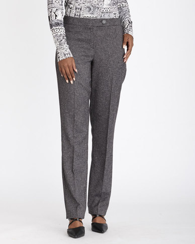 Contempo Textured Straight Leg Pants Charcoal