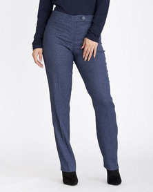 Contempo Textured Straight Leg Pants Navy