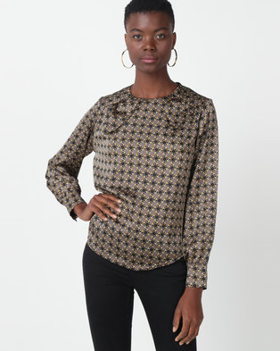 Utopia Minimal Chain Print Blouse Grey