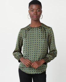 Utopia Minimal Chain Print Blouse Green