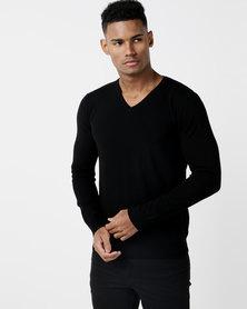 Utopia Merino Wool Blend Basic Vneck Jumper Black