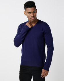 Utopia Merino Wool Blend Basic Vneck Jumper Indigo