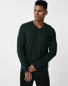 Utopia Merino Wool Blend Basic Vneck Jumper Emerald