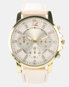Miss Maxi Triple Sub Dial Detail Watch White