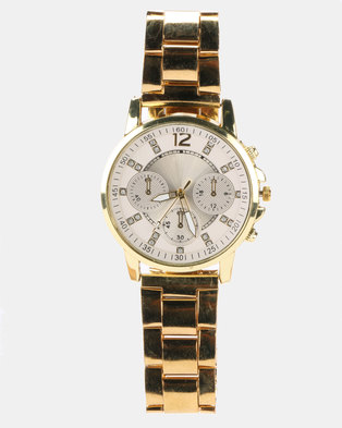 Miss Maxi Triple Sub Dial Detail Watch Gold-plated