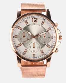 Miss Maxi Triple Sub Dial Detail Watch Rose Gold-plated