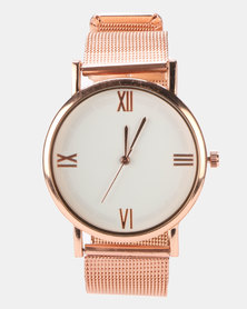 Miss Maxi Mesh Strapped Watch Rose Gold-plated