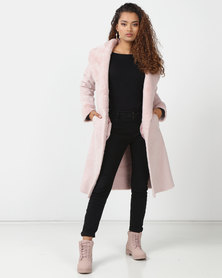 London Hub Fashion Shawl Collar Faux Suede Longline Coat Pink
