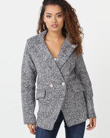 London Hub Fashion Military Button Edge To Edge Blazer Grey