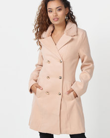 London Hub Fashion Faux Fur Collar Button Detail Trench Coat Camel