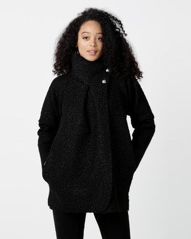London Hub Fashion Button Detail Wrap Front Jacket Black